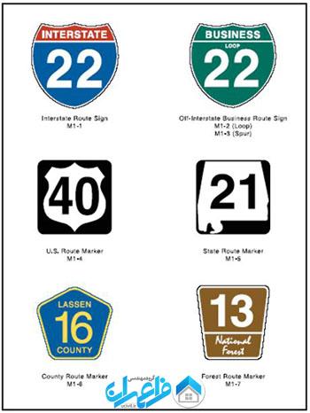 تابلوهای راهنمایی و رانندگی در امریکا
