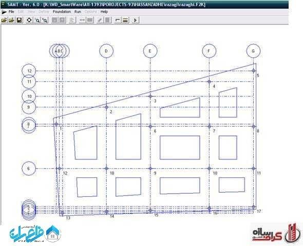 فایل باز شده فنداسیون در محیط برنامه SAMT
